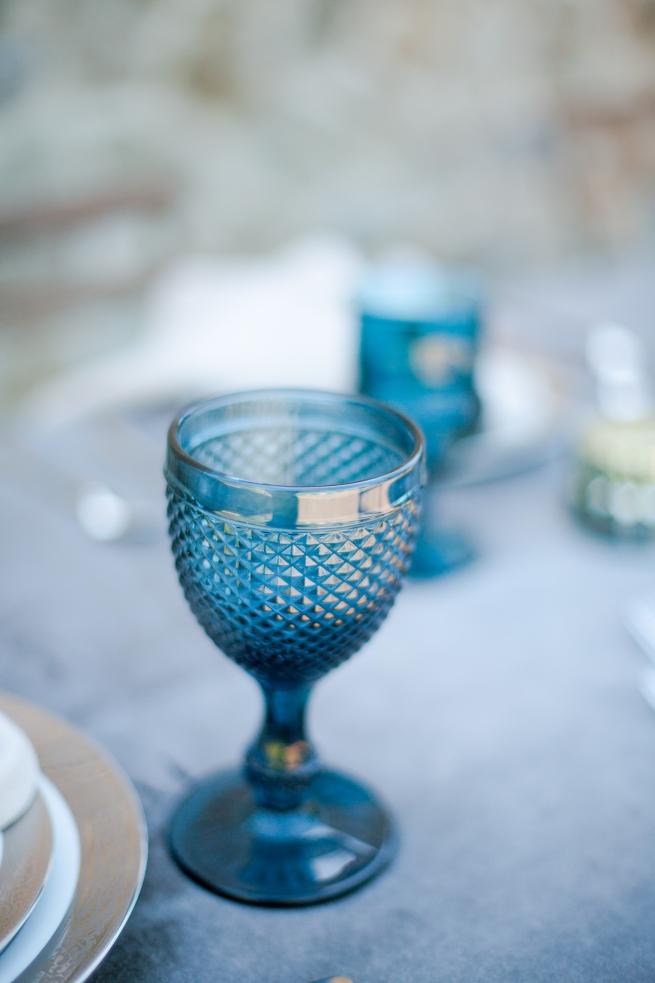 P.P. blue vintage glassware