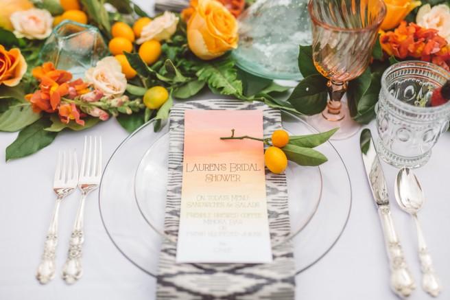 partypleasersblog.wordpress.com, orange flowers, ipkat napkins, glass plates, ornate tumbler, bridal shower