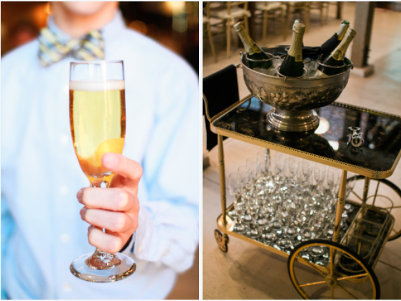 partypleasersblog@wordpress.com, champagne glass, gold butler cart